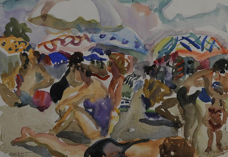 Bathers And Umbrellas